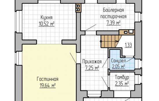 План 1-го этажа - 105м2